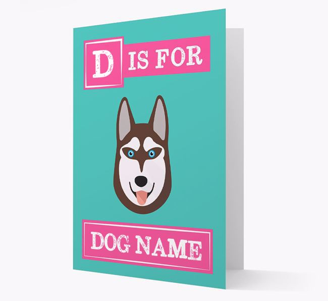 'Letter and Name' Card for your Siberian Husky