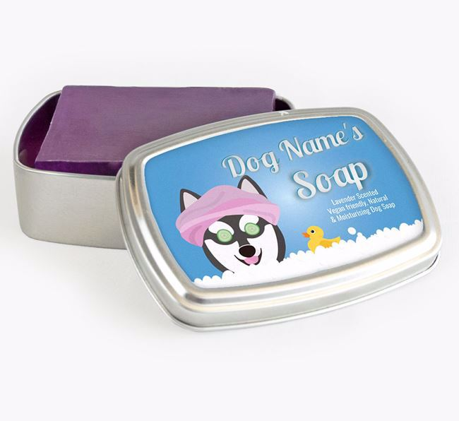 Personalised 'Bath Time' Soap Tin for your Alaskan Klee Kai