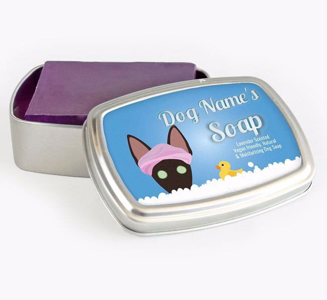 Personalised 'Bath Time' Soap Tin for your American Hairless Terrier