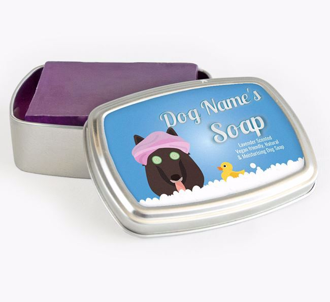 Personalised 'Bath Time' Soap Tin for your Belgian Groenendael