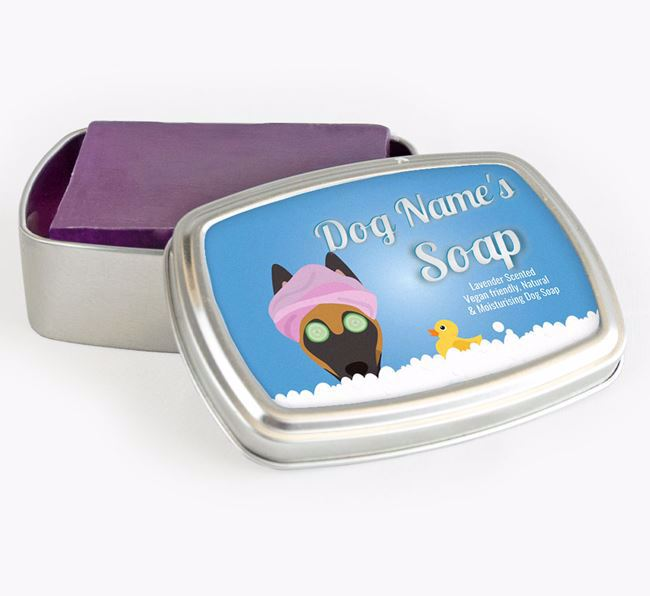 Personalised 'Bath Time' Soap Tin for your Belgian Malinois