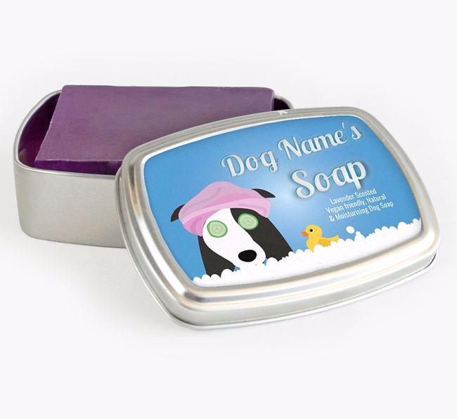 Personalised 'Bath Time' Soap Tin for your Border Collie