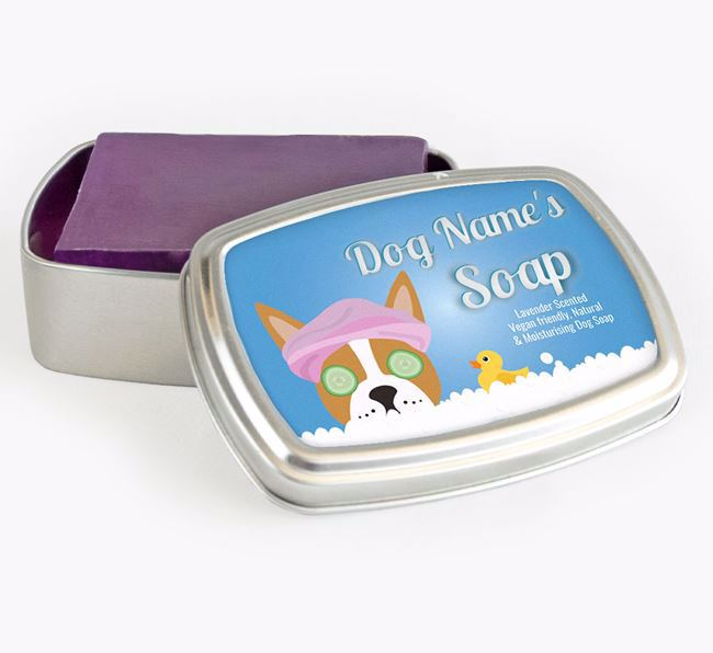 Personalised 'Bath Time' Soap Tin for your Boston Terrier