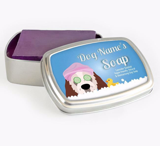Personalised 'Bath Time' Soap Tin for your Clumber Spaniel