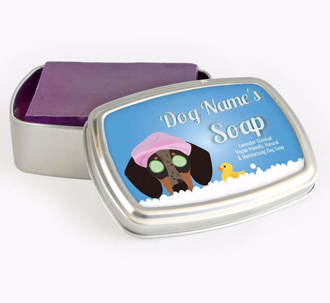 Personalised 'Bath Time' Soap Tin for your Dachshund