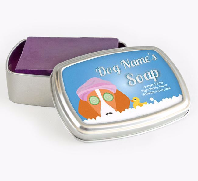 Personalised 'Bath Time' Soap Tin for your Foxhound
