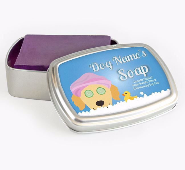 Personalised 'Bath Time' Soap Tin for your Golden Retriever