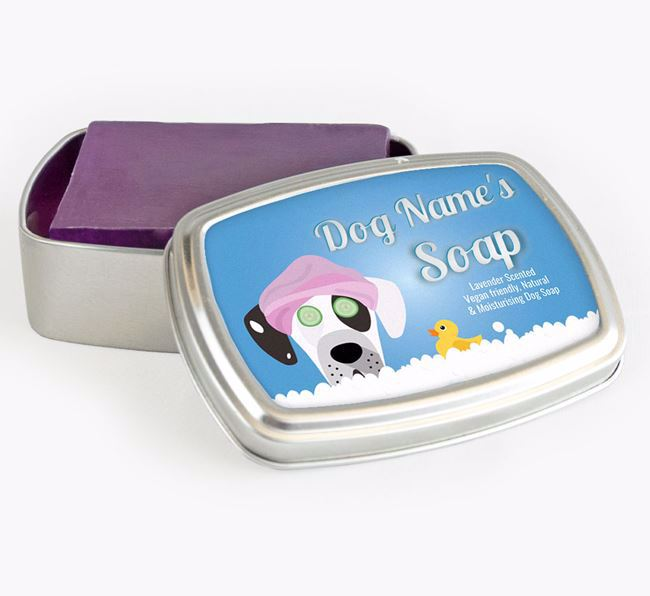 Personalised 'Bath Time' Soap Tin for your Great Dane