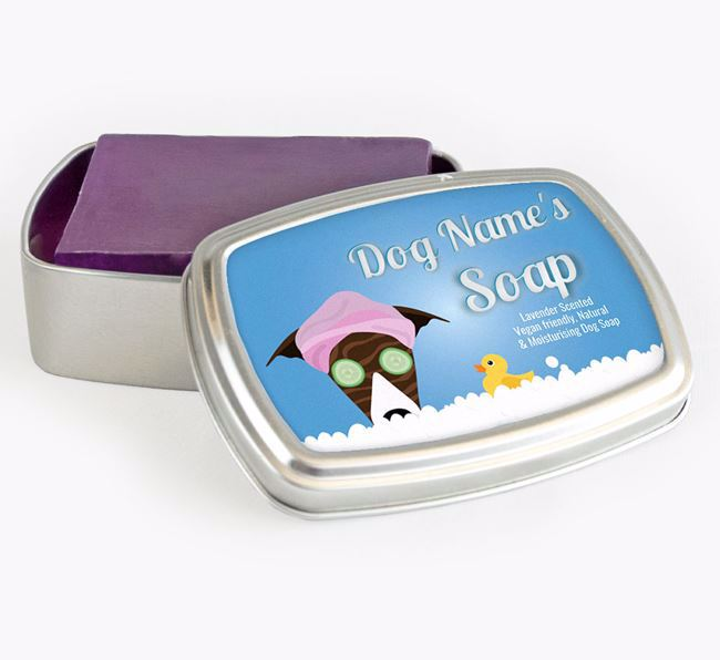 Personalised 'Bath Time' Soap Tin for your Greyhound