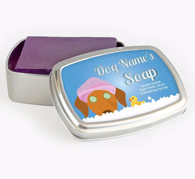 Personalised 'Bath Time' Soap Tin for your Hungarian Vizsla