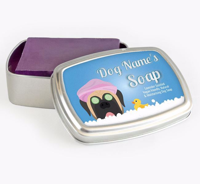 Personalised 'Bath Time' Soap Tin for your Mastiff