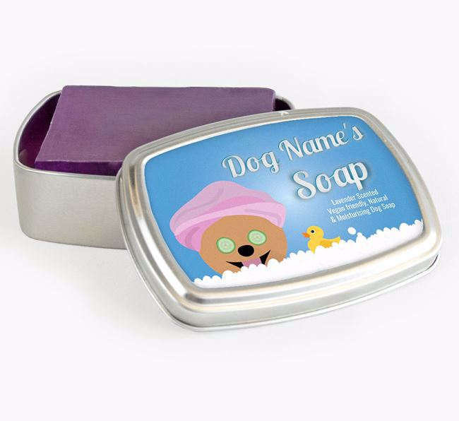 Personalised 'Bath Time' Soap Tin for your Pomeranian