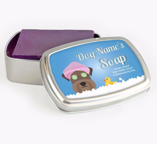 Personalised 'Bath Time' Soap Tin for your Schnauzer