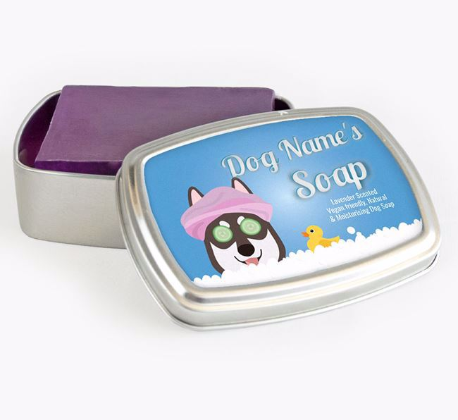 Personalised 'Bath Time' Soap Tin for your Tamaskan