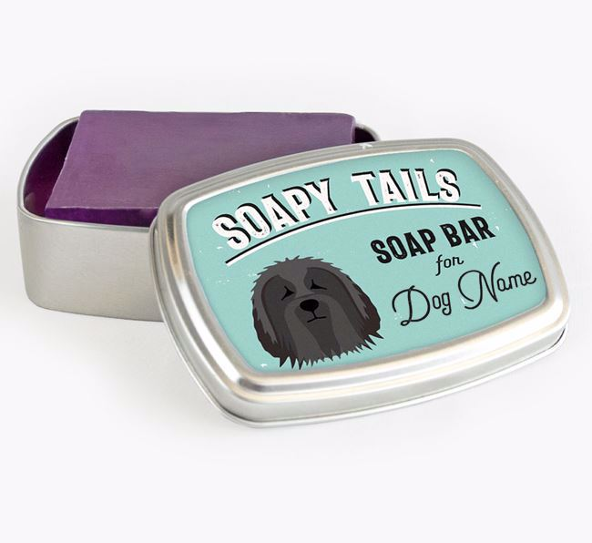 Personalised 'Soapy Tails' Soap Tin for your Bearded Collie