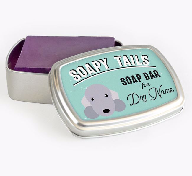 Personalised 'Soapy Tails' Soap Tin for your Bedlington Terrier