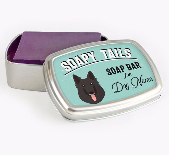 Personalised 'Soapy Tails' Soap Tin for your Belgian Groenendael