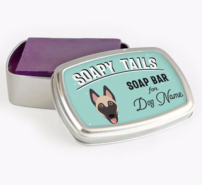 Personalised 'Soapy Tails' Soap Tin for your Belgian Malinois