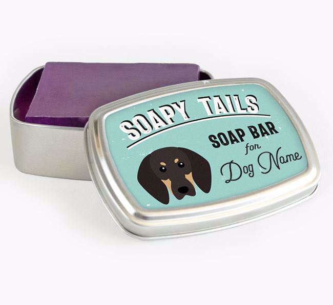 Personalised 'Soapy Tails' Soap Tin for your Black and Tan Coonhound