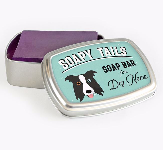 Personalised 'Soapy Tails' Soap Tin for your Border Collie
