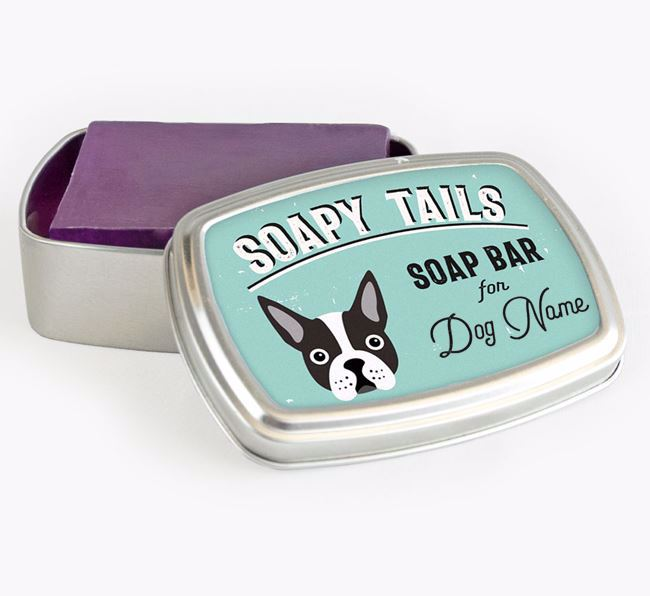 Personalised 'Soapy Tails' Soap Tin for your Boston Terrier