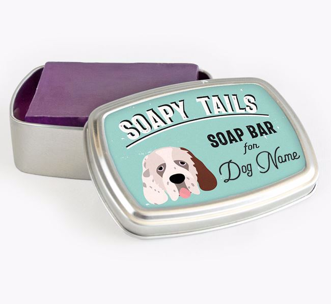 Personalised 'Soapy Tails' Soap Tin for your Clumber Spaniel