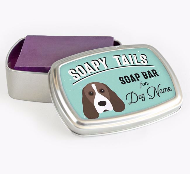 Personalised 'Soapy Tails' Soap Tin for your Cocker Spaniel