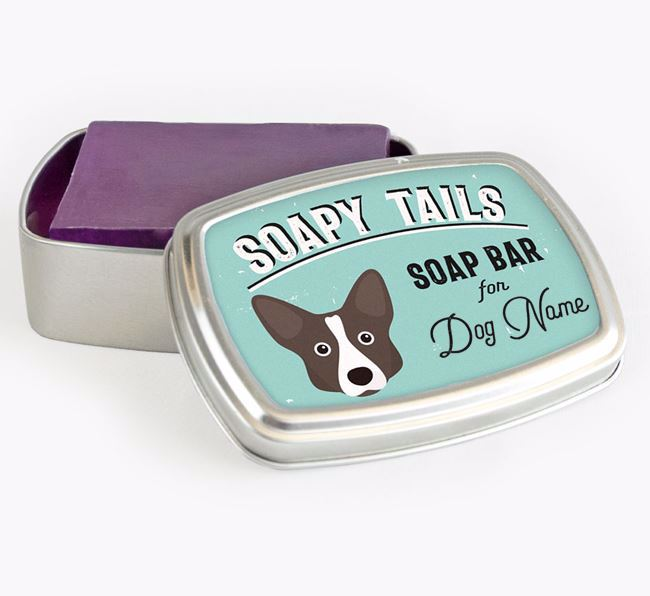 Personalised 'Soapy Tails' Soap Tin for your Corgi