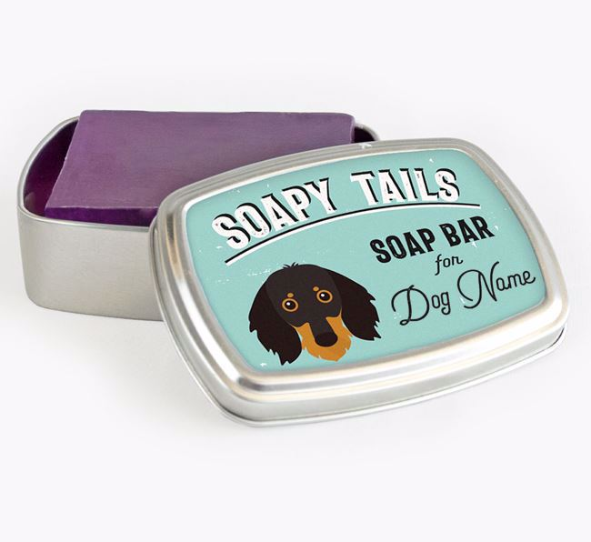 Personalised 'Soapy Tails' Soap Tin for your Dachshund