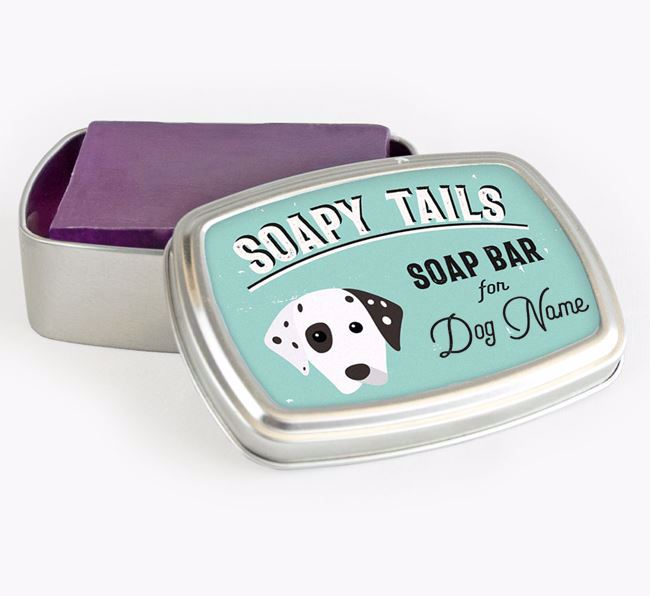 Personalised 'Soapy Tails' Soap Tin for your Dalmatian