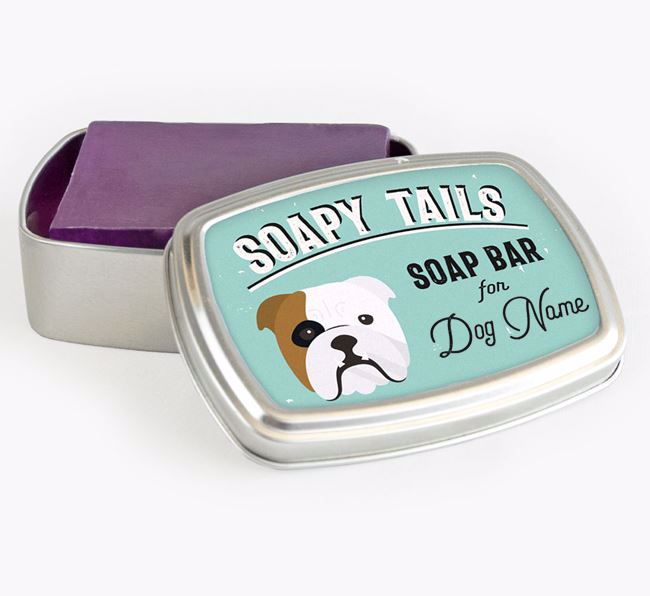 Personalised 'Soapy Tails' Soap Tin for your English Bulldog