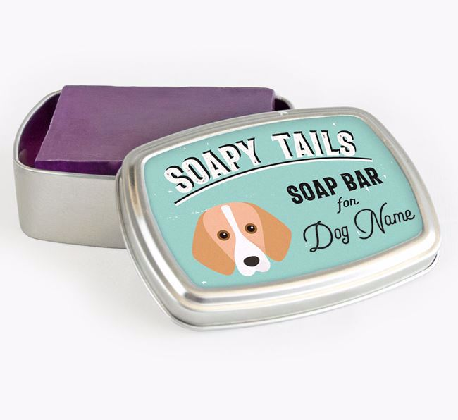 Personalised 'Soapy Tails' Soap Tin for your Foxhound