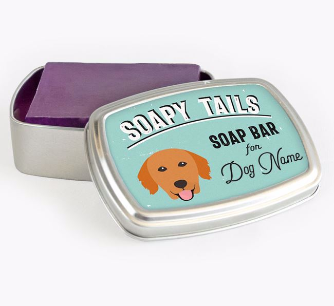 Personalised 'Soapy Tails' Soap Tin for your Golden Retriever