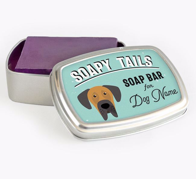 Personalised 'Soapy Tails' Soap Tin for your Great Dane