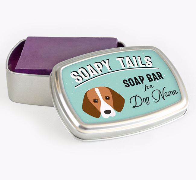 Personalised 'Soapy Tails' Soap Tin for your Harrier
