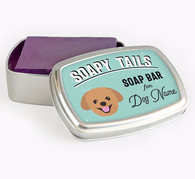Personalised 'Soapy Tails' Soap Tin for your Pomapoo