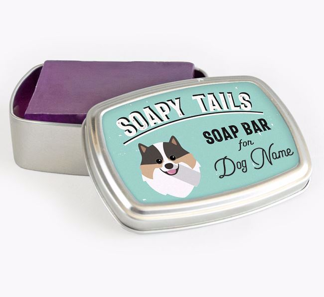 Personalised 'Soapy Tails' Soap Tin for your Pomeranian