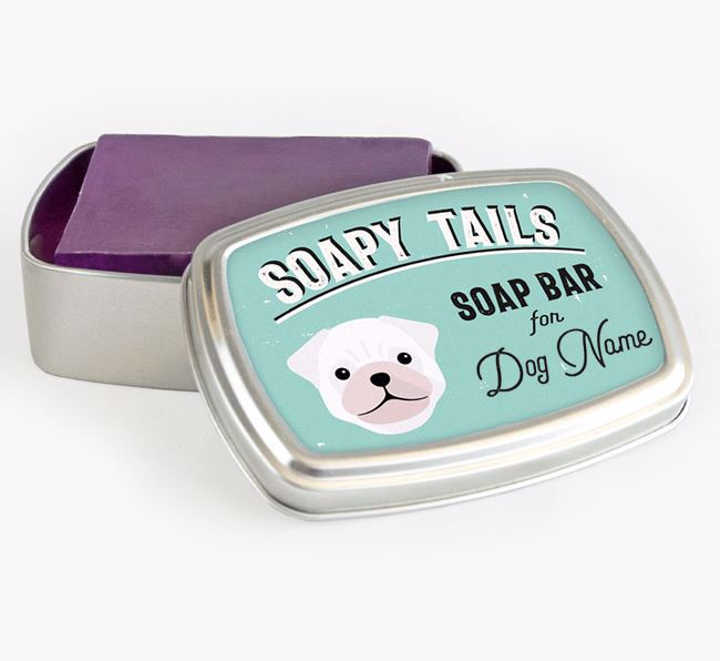 Personalised 'Soapy Tails' Soap Tin for your Pug