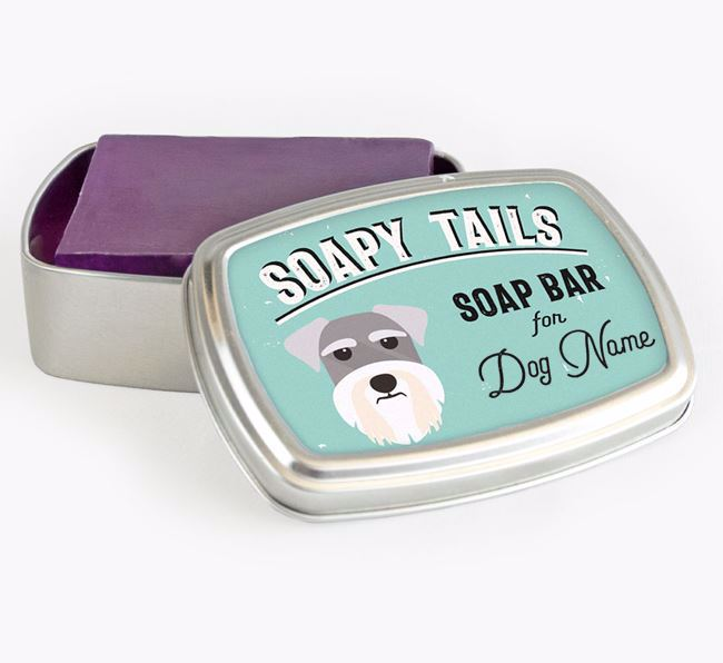 Personalised 'Soapy Tails' Soap Tin for your Schnauzer