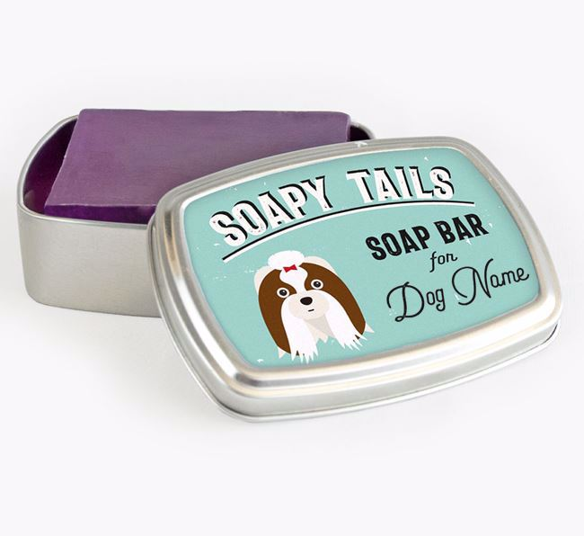 Personalised 'Soapy Tails' Soap Tin for your Shih Tzu