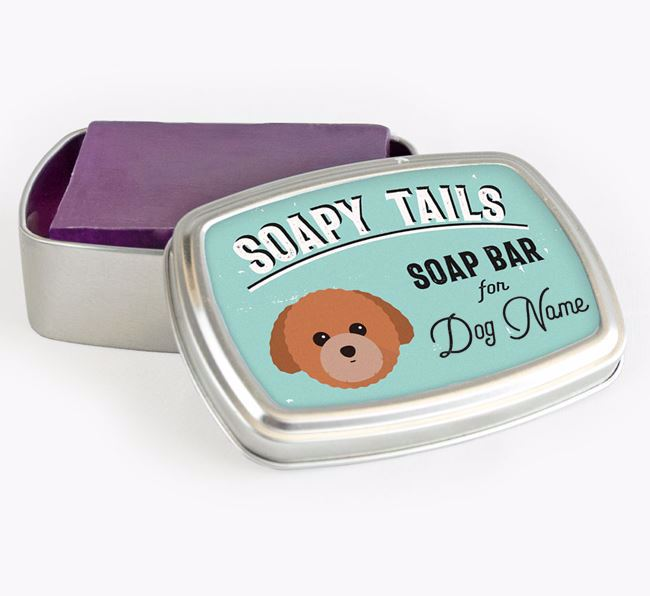 Personalised 'Soapy Tails' Soap Tin for your Toy Poodle