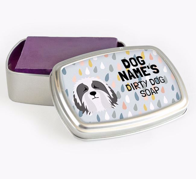 Personalised 'Dirty Dog' Soap Tin for your Bearded Collie