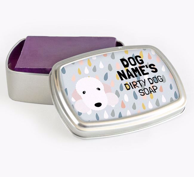 Personalised 'Dirty Dog' Soap Tin for your Bedlington Terrier