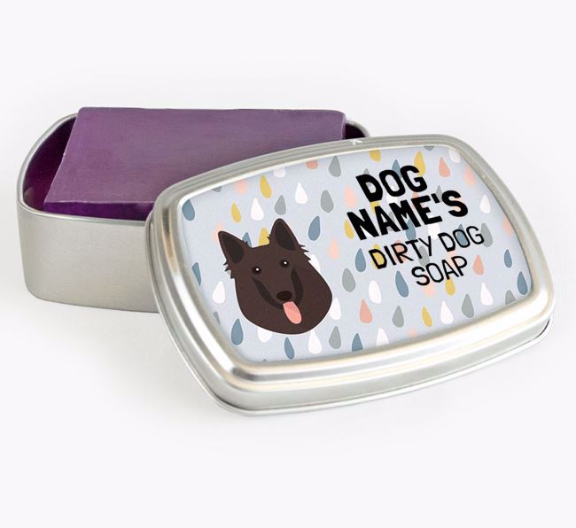Personalised 'Dirty Dog' Soap Tin for your Belgian Groenendael
