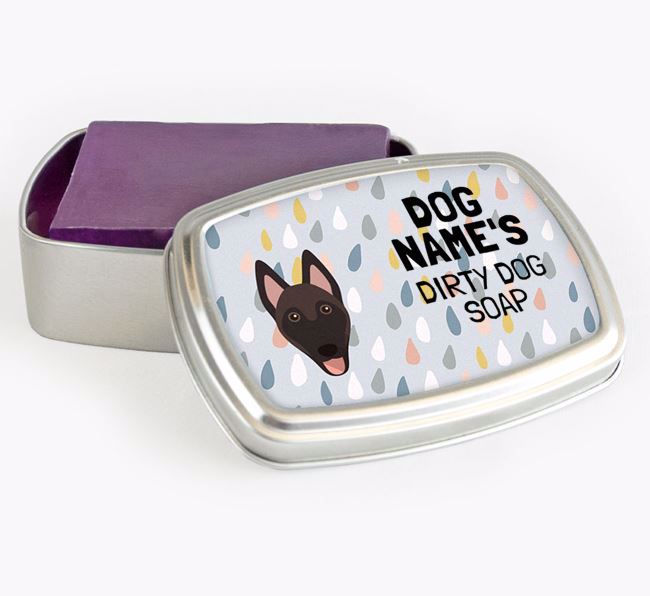 Personalised 'Dirty Dog' Soap Tin for your Belgian Malinois