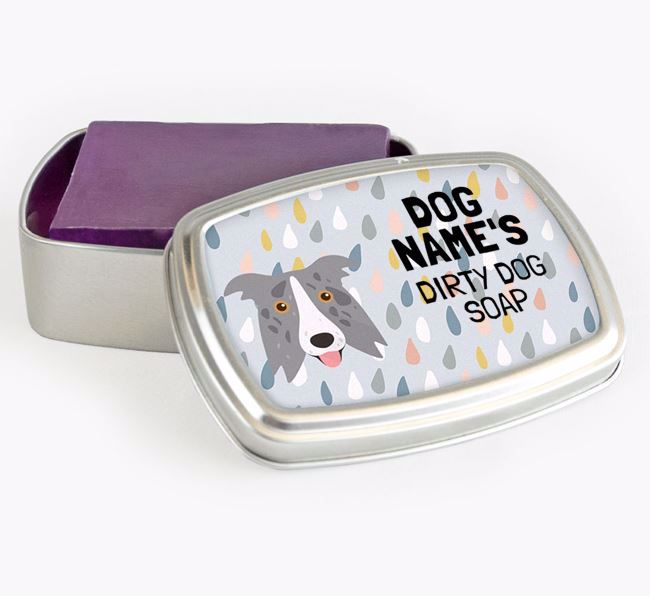 Personalised 'Dirty Dog' Soap Tin for your Border Collie
