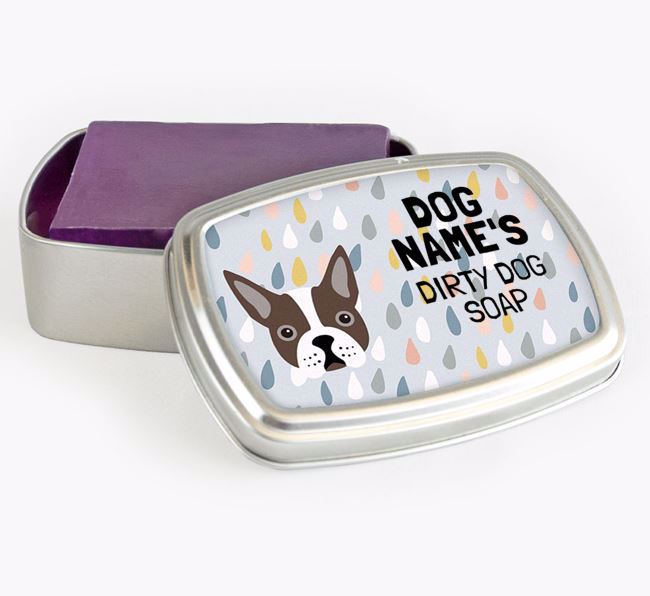 Personalised 'Dirty Dog' Soap Tin for your Boston Terrier