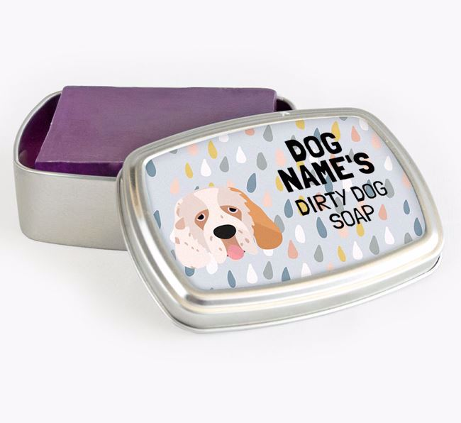 Personalised 'Dirty Dog' Soap Tin for your Clumber Spaniel