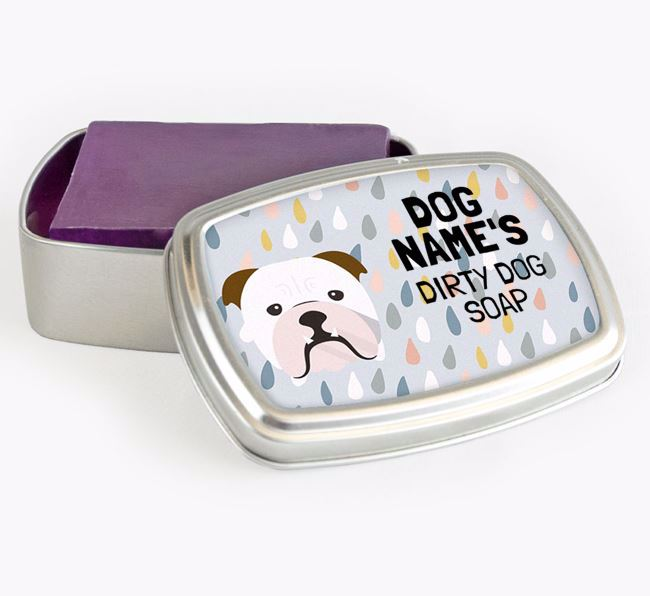 Personalised 'Dirty Dog' Soap Tin for your English Bulldog
