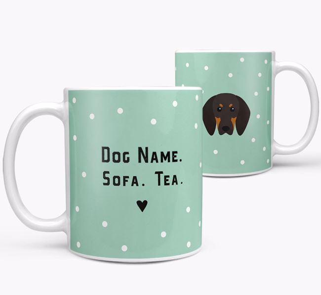 Personalised 'Sofa & Tea' Mug for your Black and Tan Coonhound